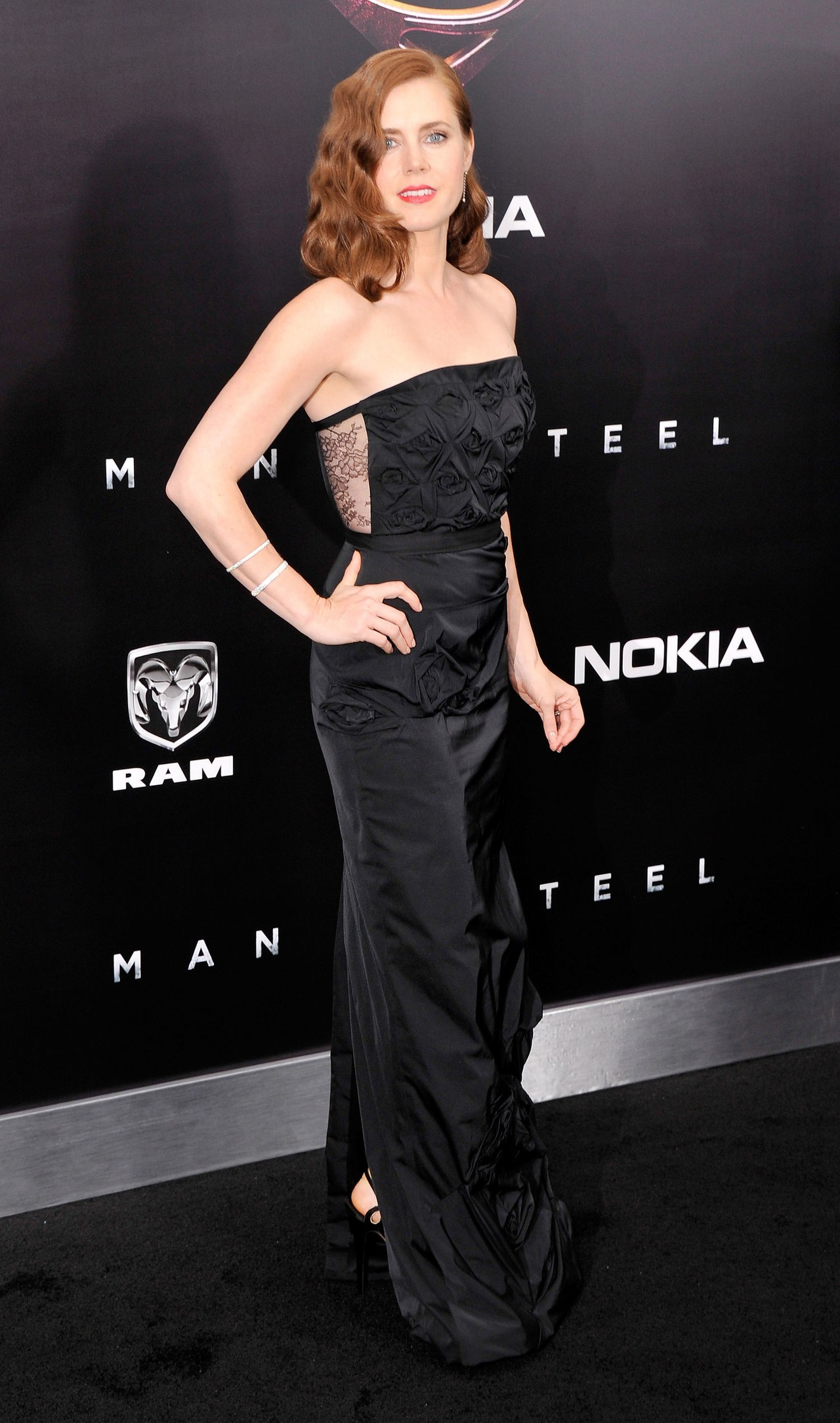 Amy Adams Man of Steel Premier Nini Ricci gown